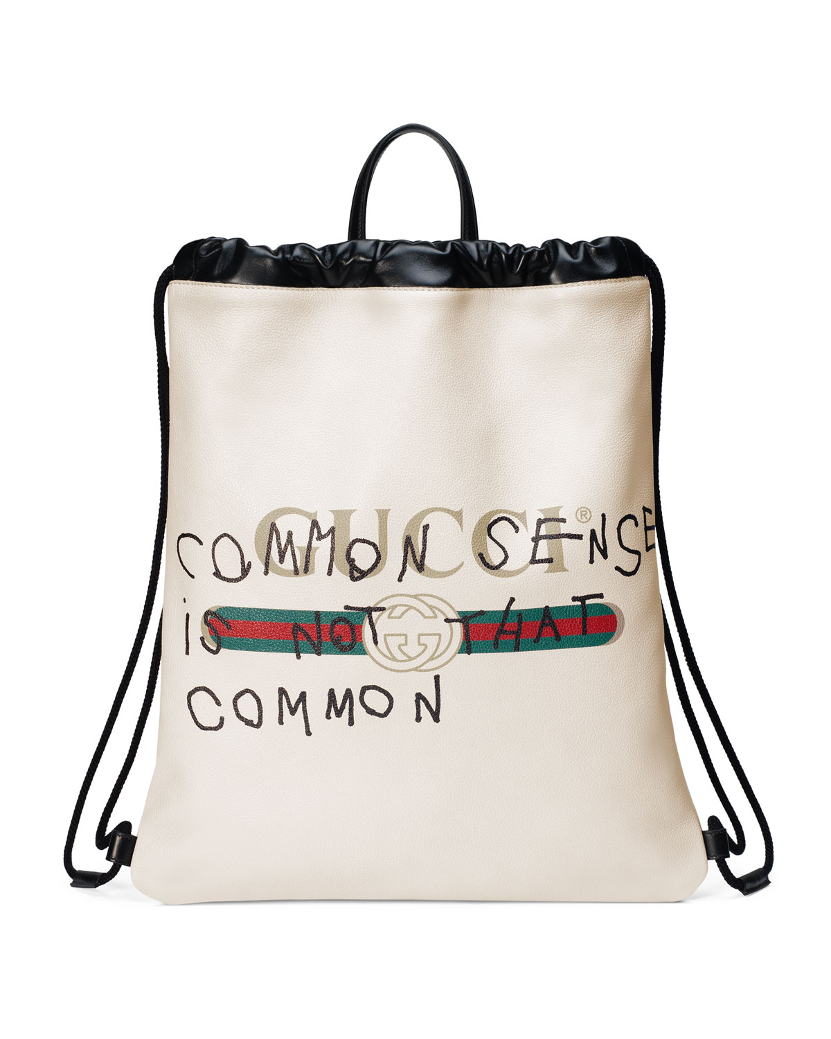 3d7d8c99cdf9 Gucci Gucci-Print Leather Drawstring Backpack, White | Neiman Marcus