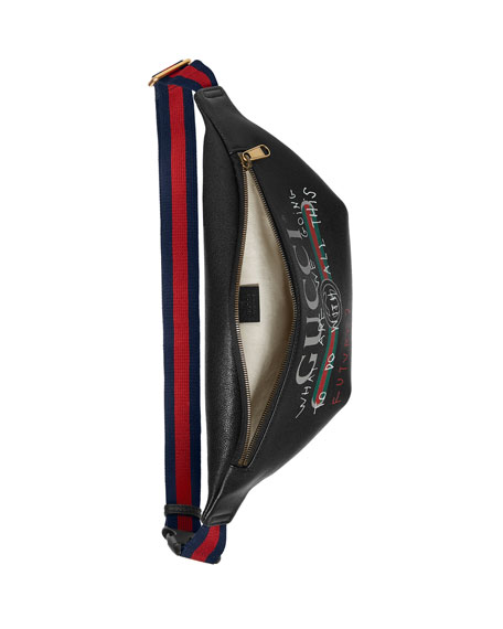 af7bd5b1aa5 Gucci Gucci-Print Leather Belt Bag, Black | Neiman Marcus