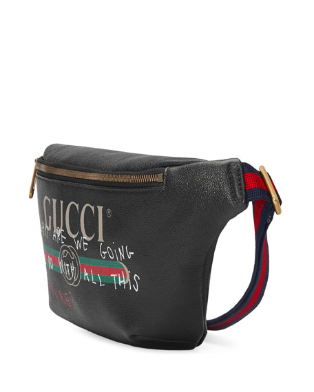 Gucci-Print Leather Belt Bag, Black