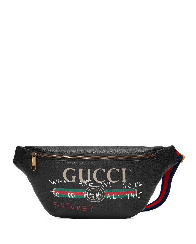 57dfedb74ebf Gucci Gucci-Print Leather Belt Bag, Black | Neiman Marcus