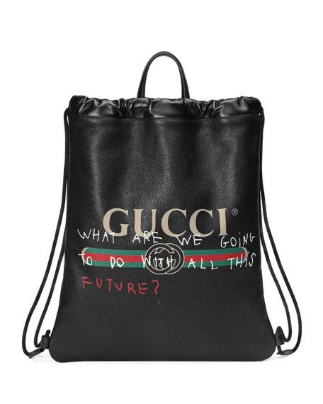 Gucci Gucci-Print Leather Drawstring Backpack, Black