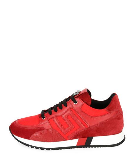 Greek Key Running Shoe, Red