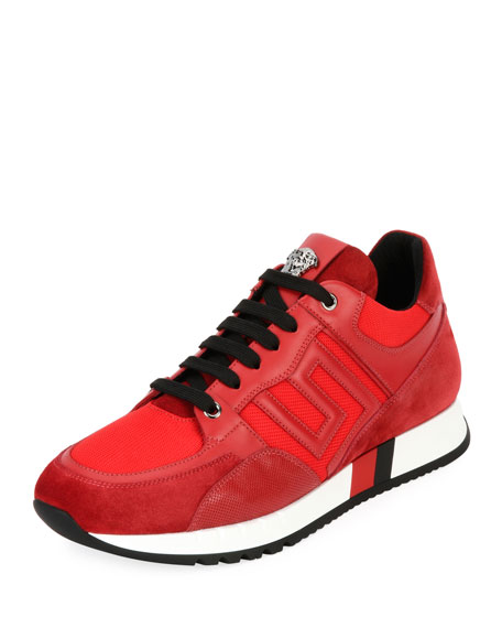 Versace Greek Key Running Shoe, Red
