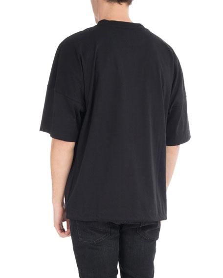 Wolf-Print Drawstring Logo T-Shirt, Black