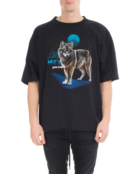 Palm Angels Wolf-Print Drawstring Logo T-Shirt, Black