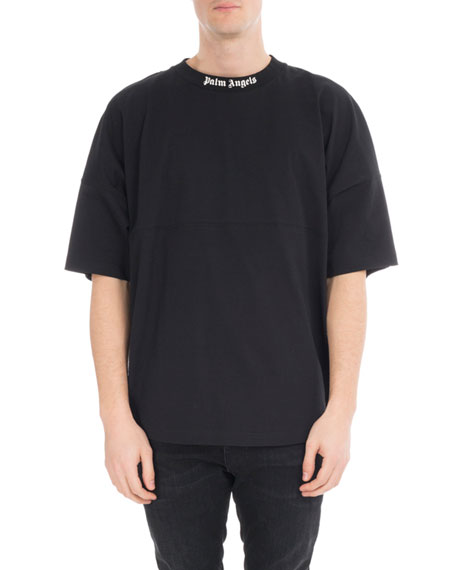 Oversized Cotton Logo T-Shirt, Black/White