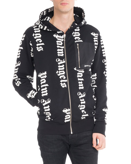 Palm Angels Cotton Logo Zip-Front Hoodie, Black/Silver