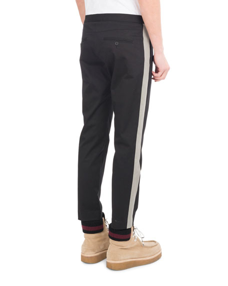 Side-Stripe Stretch-Cotton Trousers, Black