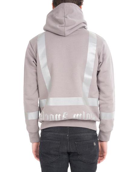 Metallic-Stripe Cotton Hoodie, Gray