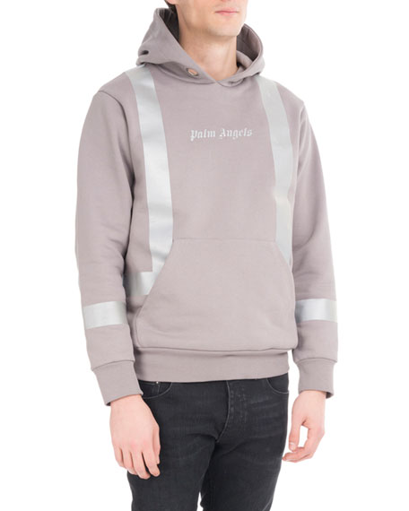 Palm Angels Metallic-Stripe Cotton Hoodie, Gray