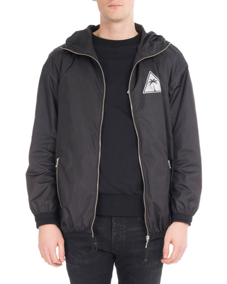 Reflective Palm Icon Nylon Jacket, Black