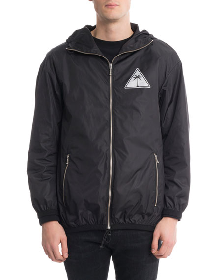 Palm Angels Reflective Palm Icon Nylon Jacket, Black