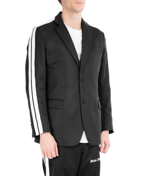 Palm Angels Striped Track Blazer, Black/White