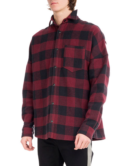 Palm Angels Buffalo Plaid Flannel Logo Shirt, Multicolor