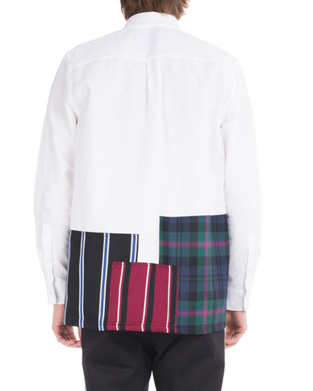 Cotton Oxford Shirt with Patchwork Hem, White/Black