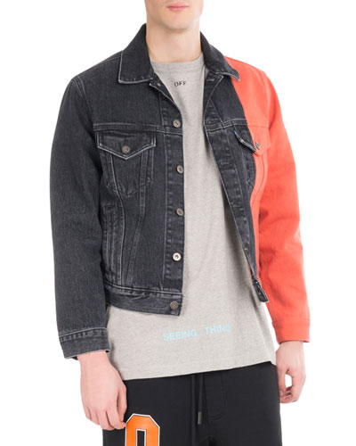 Spliced Denim Trucker Jacket