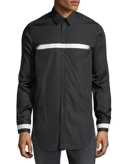 Neil Barrett Paintbrush-Trim Long-Sleeve Shirt