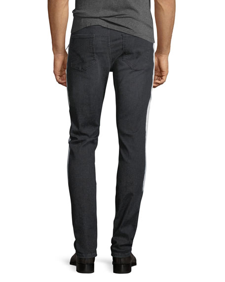 Side-Stripe Slim-Straight Denim Jeans