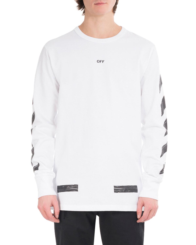 17938671c6ef0 Off-White Brushed Diagonal Arrows Long-Sleeve Cotton T-Shirt ...