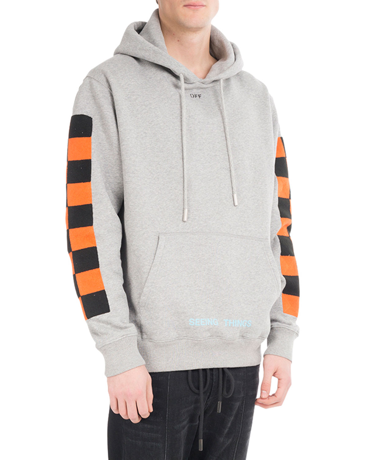 Off White Checker Sleeve Cotton Hoodie Neiman Marcus