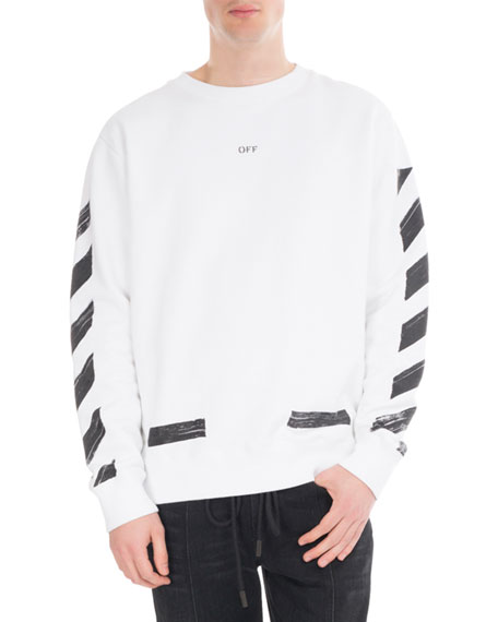 Off-White Brushed Diagonal Arrows Cotton Sweatshirt