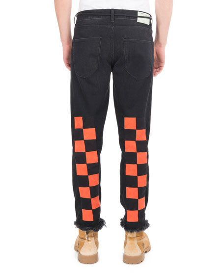 Image 2 of 3: Checker Denim Cropped Straight-Leg Jeans