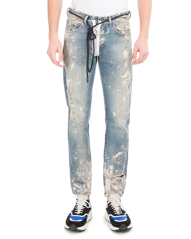 Off Whitediagonal Arrows Slim Vintage Paint Jeans