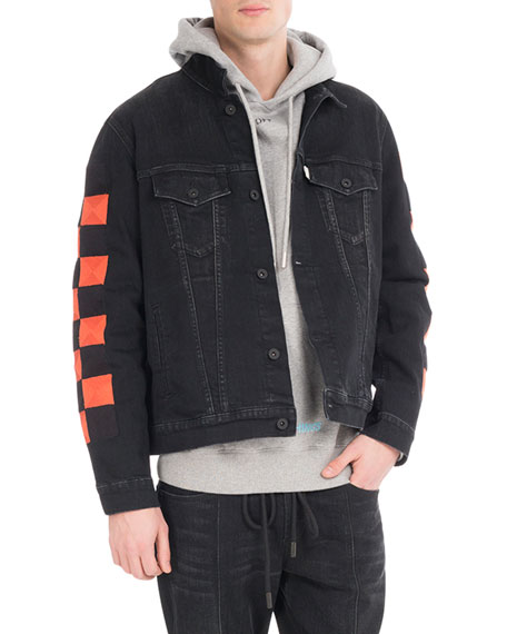 Off-White Checker Oversized Denim Jacket