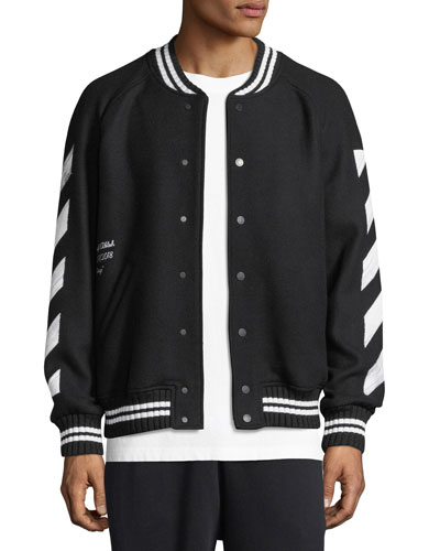Brushed Diagonal Arrows Hooded Varsity Jacket