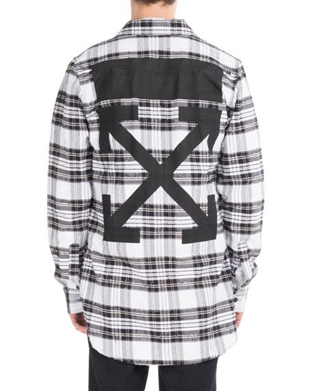 Diagonal Arrows Distressed Check Shirt