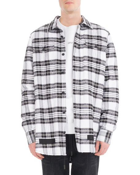 Off-White Diagonal Arrows Distressed Check Shirt