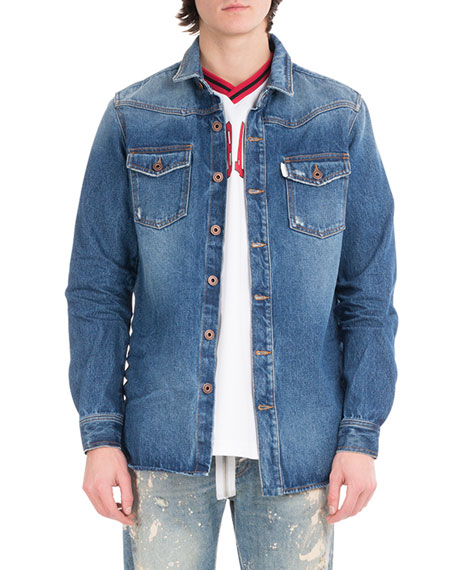 Off-White Diagonal Window Denim Shirt