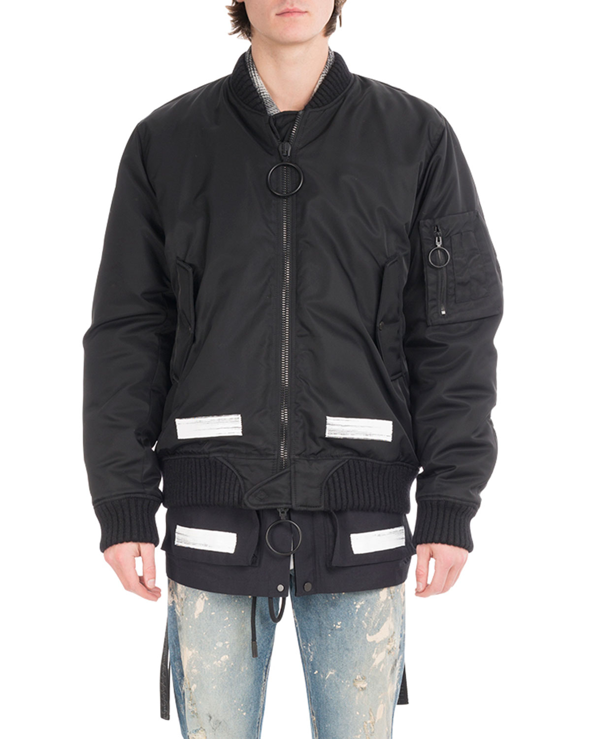 77649943d360 Off-White Brushed Arrows Nylon Bomber Jacket