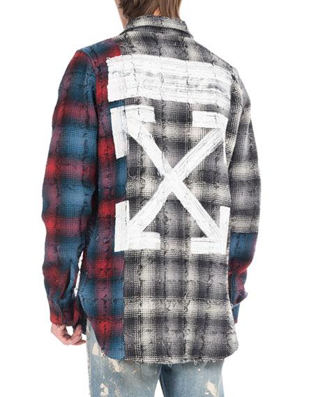 Mixed-Flannel Plaid Shirt