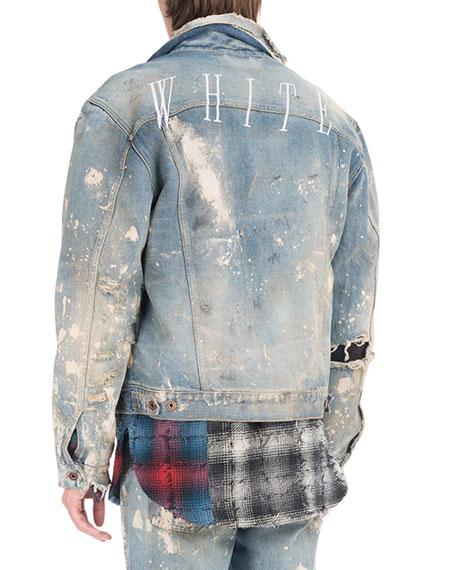 Painted-Splatter Oversized Denim Jacket