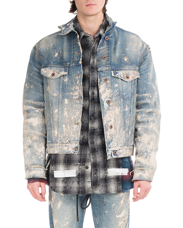 ec43351fed6c Off-White Painted-Splatter Oversized Denim Jacket