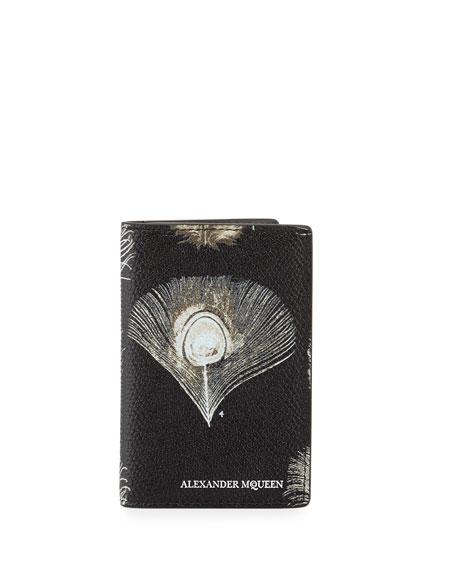 Peacock Feather Leather Pocket Organizer, Black/White