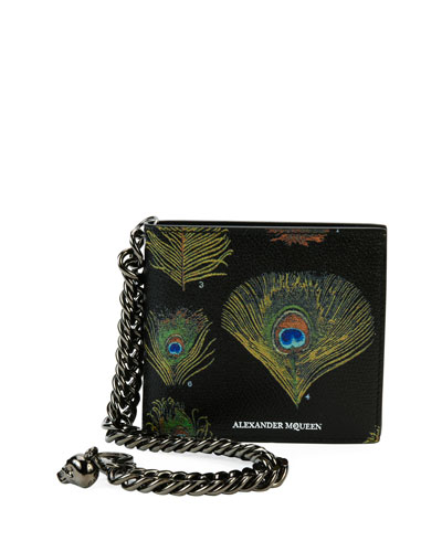 Peacock Feather Leather Wallet on Chain, Black