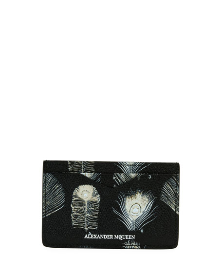 Peacock Feather Leather Card Case, Black/White