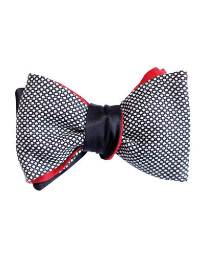 Reversible Caviar & Solid Satin Bow Tie