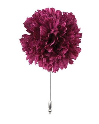 Silk Carnation Flower Lapel Pin