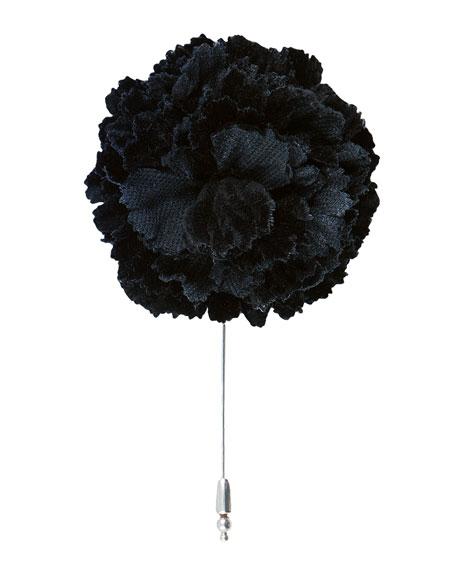 Velvet Carnation Flower Lapel Pin