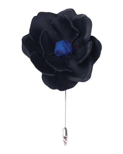Leather Gardenia Lapel Pin