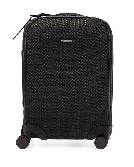Ermenegildo Zegna Pelle Tessuta Woven Leather Trolley Suitcause