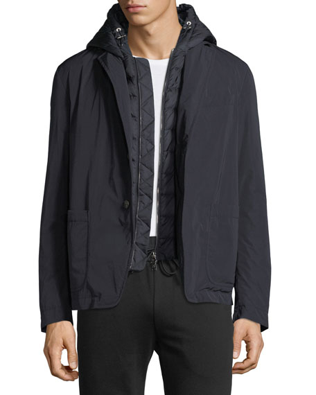 Moncler Veyle Jacket w/ Quilted Dickey