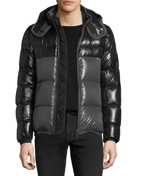 Moncler Harry Shiny Puffer Jacket w/ Removable Hood