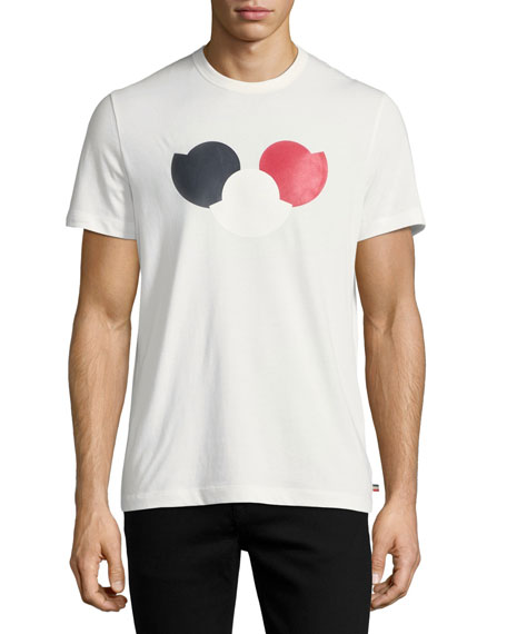 moncler tricolor logo cotton crewneck t shirt neiman marcus. Black Bedroom Furniture Sets. Home Design Ideas