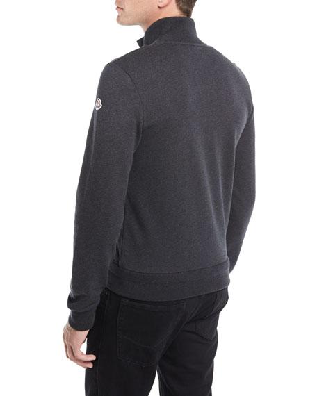 Striped-Trim Zip-Front Cardigan