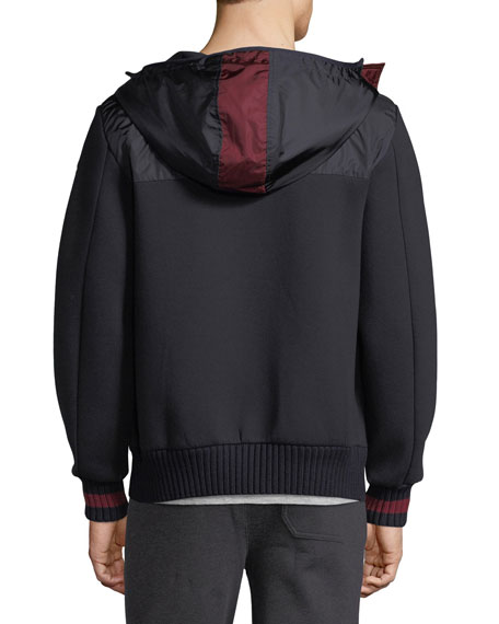 Hooded Zip-Front Knit Cardigan