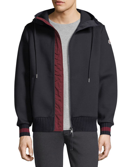 Moncler Hooded Zip-Front Knit Cardigan